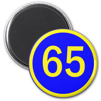 number, 65, in a circle refrigerator magnets