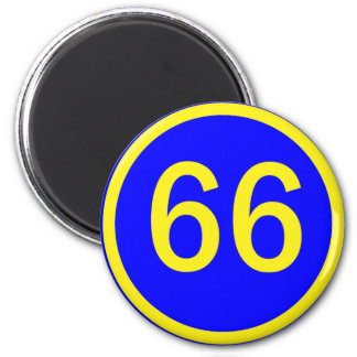number, 66, in a circle 6 cm round magnet