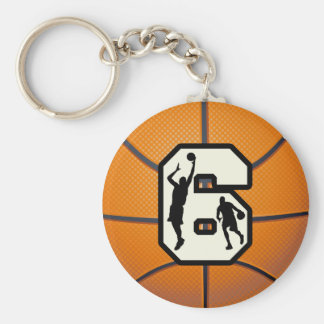 Number 6 Basketball and Players Basic Round Button Key Ring