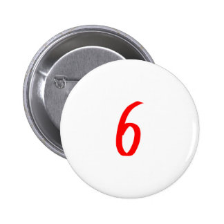 Number 6 six red color 6 cm round badge