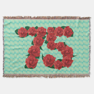 Number 75 75th birthday red roses floral blanket