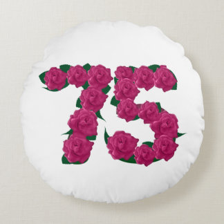 """Number 75 75th birthday Round Throw Pillow (16"""")"""