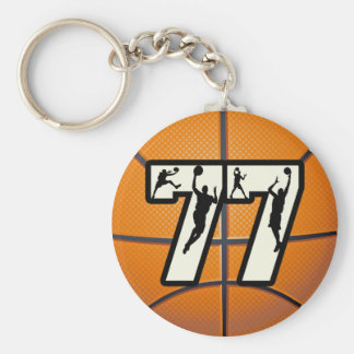 Number 77 Basketball Key Ring