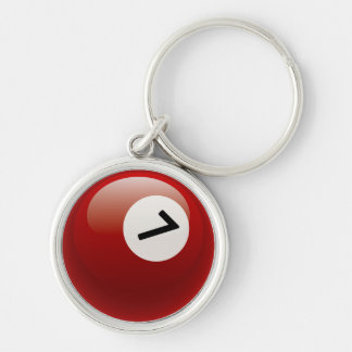 Number 7 Billiards Ball Key Ring
