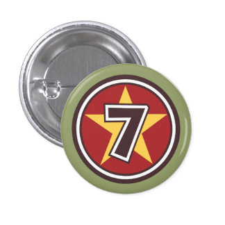 Number 7 Customized Design Pinback Buttons
