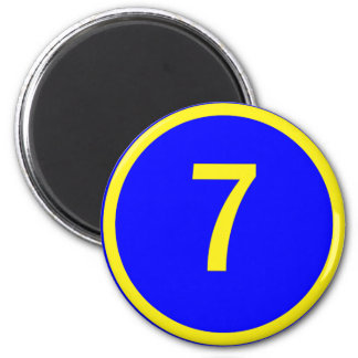 number 7 in a circle 6 cm round magnet