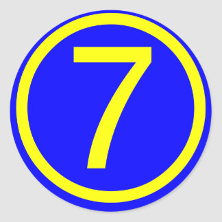 number 7 in a circle, blue background round sticker