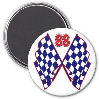 Number 88 and Checkered Flags 7.5 Cm Round Magnet