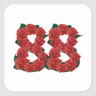 Number 88 floral square sticker