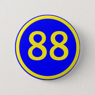 number, 88, in a circle 6 cm round badge