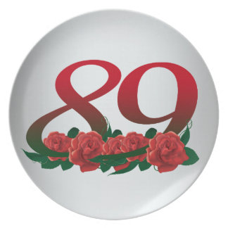 number 89 / 89th birthday red flowers floral dinner plate