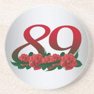 number 89 / 89th birthday red flowers floral drink coasters