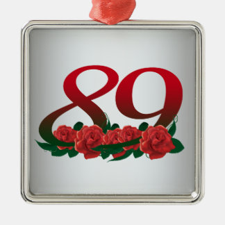 number 89 / 89th birthday red flowers floral metal ornament