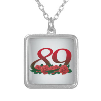 number 89 / 89th birthday red flowers floral silver plated necklace