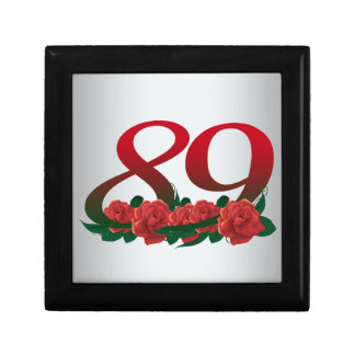 number 89 / 89th birthday red flowers floral small square gift box