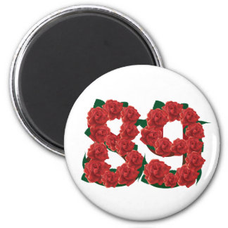 Number 89 or 89th birthday flower 6 cm round magnet