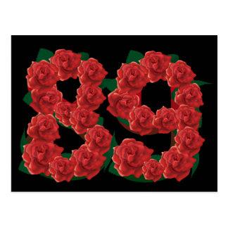 Number 89 or 89th birthday flower postcard