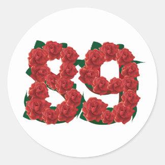 Number 89 or 89th birthday flower round sticker