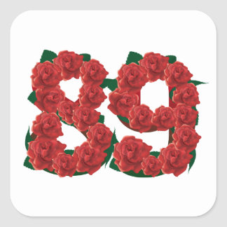 Number 89 or 89th birthday flower square sticker