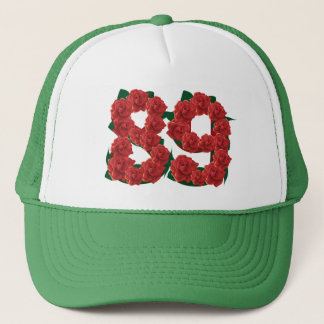Number 89 or 89th birthday flower trucker hat