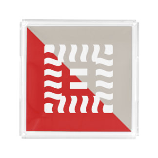 Number 8 split reverse red/taupe acrylic tray