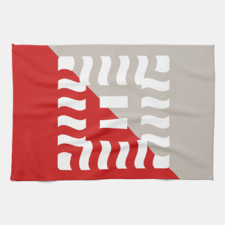 Number 8 split reverse red/taupe tea towel