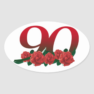 Number 90 or 90th birthday floral oval sticker