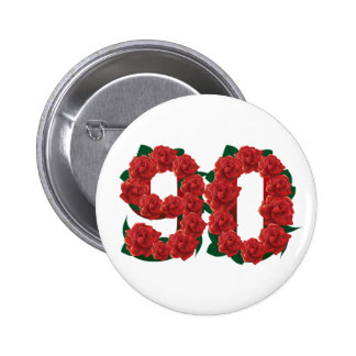 Number 90 or 90th birthday red roses 6 cm round badge