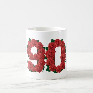 Number 90 or 90th birthday red roses coffee mug