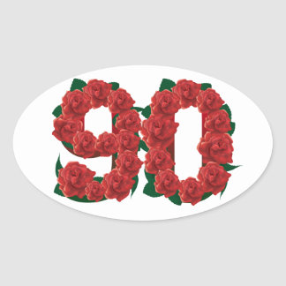 Number 90 or 90th birthday red roses oval sticker