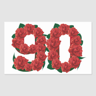 Number 90 or 90th birthday red roses rectangular sticker