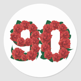 Number 90 or 90th birthday red roses round sticker