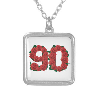 Number 90 or 90th birthday red roses silver plated necklace