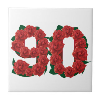 Number 90 or 90th birthday red roses small square tile