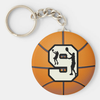 Number 9 Basketball and Player Basic Round Button Key Ring