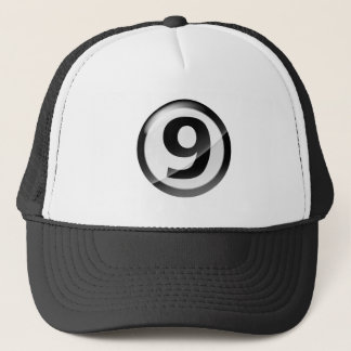 Number 9 black trucker hat