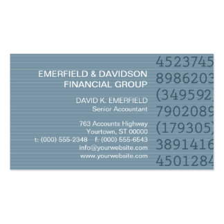 Number Columns Blue Pinstripe Accountant Business Cards
