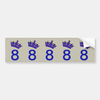 Number Eight With Blue Crown Bumper Sticker