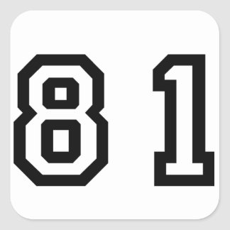 Number Eighty One Square Sticker