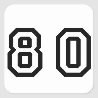 Number Eighty Square Sticker