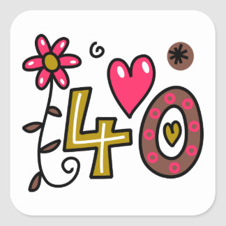 Number Forty Cartoon Birthday Age Square Sticker