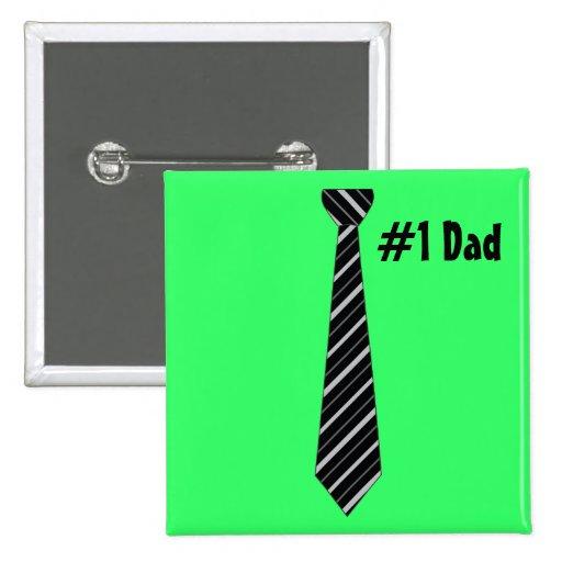 Number One #1 Dad Black Stripes Fake Tie Button