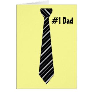 Number One #1 Dad Black Stripes Fake Tie Greeting Card