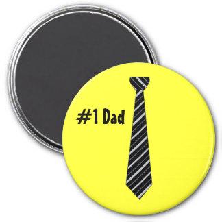 Number One 1 Dad Black Stripes Fake Tie Refrigerator Magnets