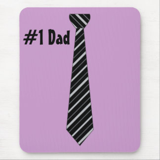 Number One #1 Dad Black Stripes Fake Tie Mouse Pad