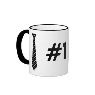 Number One #1 Dad Black Stripes Fake Tie Ringer Coffee Mug