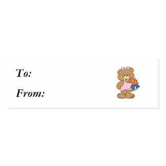 Number One Award Girl Bear Pack Of Skinny Business Cards