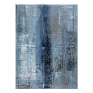 'Number One' Blue Abstract Art Poster