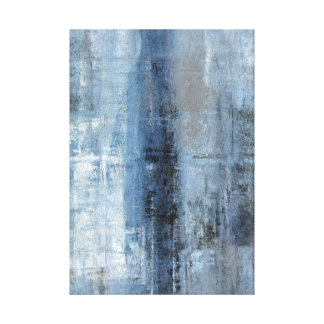 'Number One' Blue and Grey Abstract Art Print Gallery Wrap Canvas