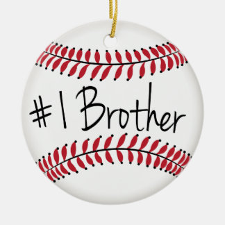 Number One Brother with Baseball Round Ceramic Decoration